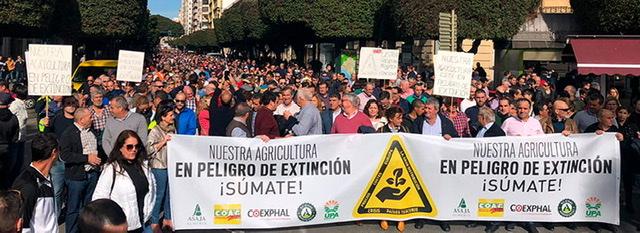 Los agricultores andaluces del sector hortofrutícola salen a la calle para luchar por su futuro