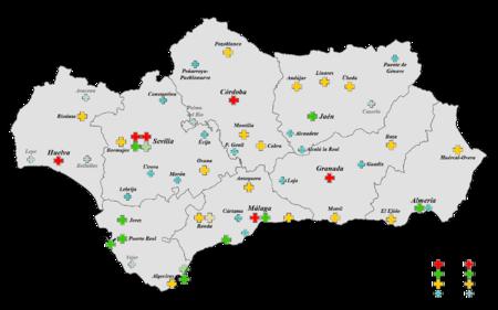 Mapa de Hospitales en Andalucía
