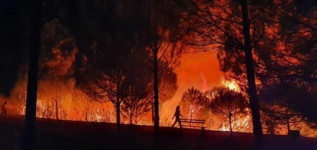 El número de desalojados por el incendio de Almonaster la Real en Huelva se eleva a 3.150 personas