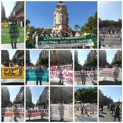 Marea blanca y marea verde protestan en Andalucía