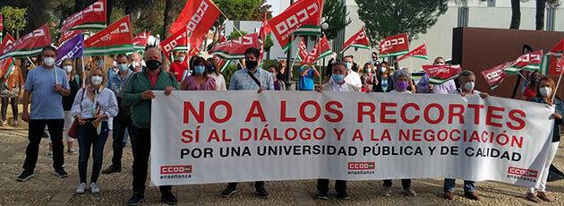 Los sindicatos contundentes contra la Junta de Andalucía: «Los recortes presupuestarios en las universidades están estrangulando la educación pública»