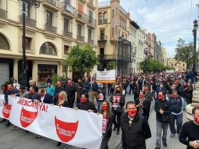 Protesta hostelería en Sevilla