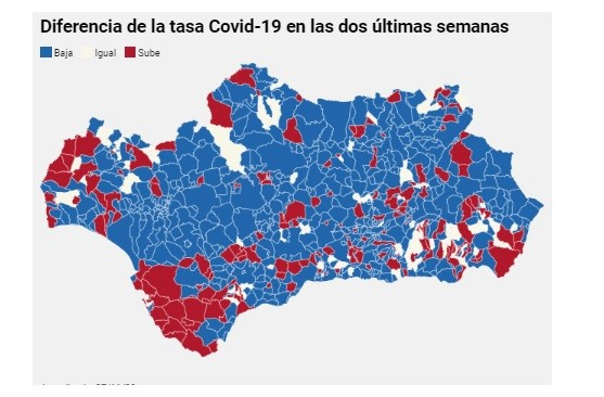 La tasa de Covid-19 baja en Andalucía en dos de cada tres municipios