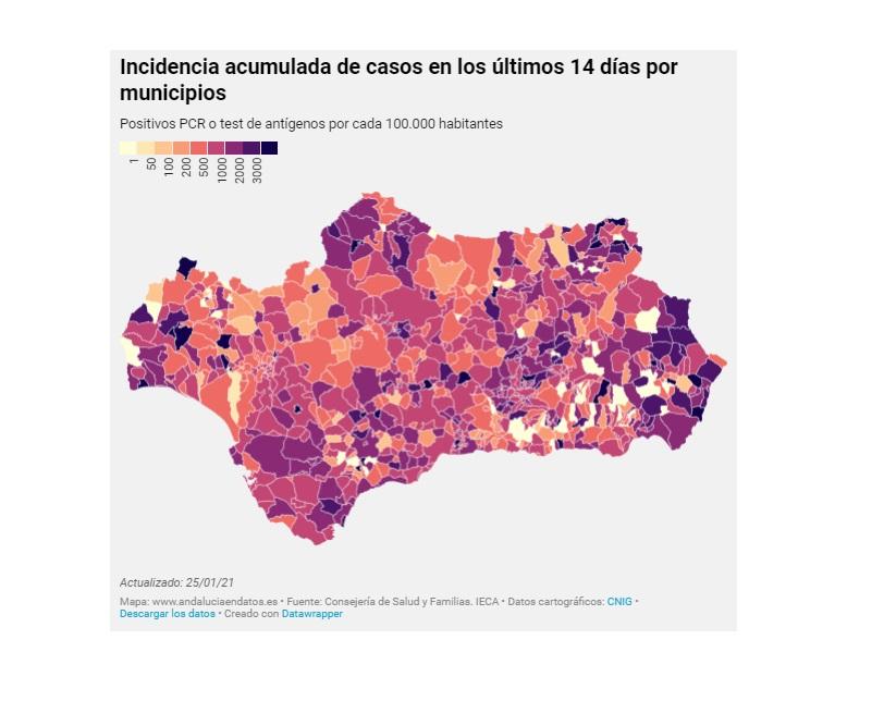 Coronavirus en Andalucía: nos acercamos a los 4.000 ingresos hospitalarios y una tasa de 1.000 puntos, con cifras ya disparadas en todas las provincias