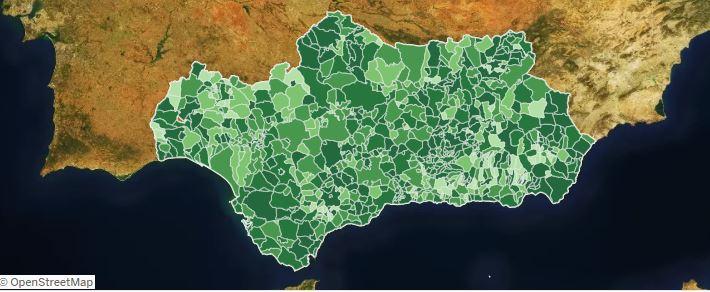 Mapa coronavirus covid Andalucía