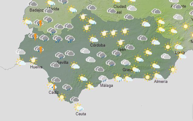 El tiempo en Andalucía: Este lunes Chubascos tormentosos fuertes y persistentes en la mitad occidental