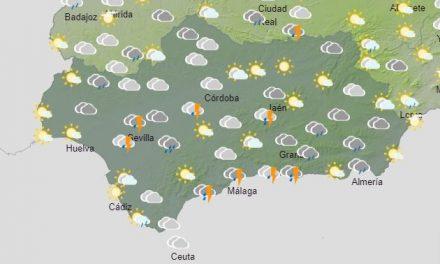 El tiempo en Andalucía: Este martes chubascos tormentosos, localmente fuertes acompañados de granizo