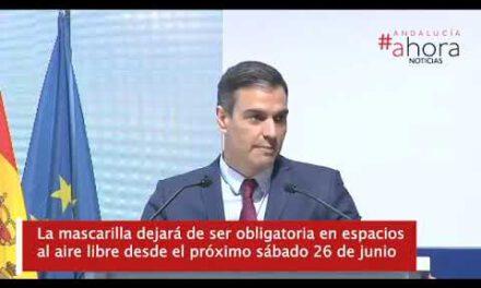 Pedro Sánchez anuncia que la mascarilla dejará de ser obligatoria en espacios al aire libre desde el próximo sábado 26 de junio
