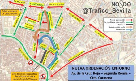 Así circularemos por Sevilla tras las obras de reordenación del tráfico: La Avenida de la Cruz Roja será peatonal y habrá un sentido único hacia el Casco Histórico desde la Carretera de Carmona
